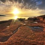 Sunset at Honeymoon Bay, Freycinet Peninsula, Tasmania, Australia