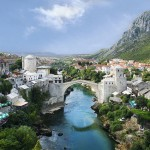 """Mostar - Old Town panorama. The picture was taken from the minaret of Koski Mehmed Pasha Mosque , which is just opposite Stari Most (""""The Old Bridge"""") looking on the same part of the Neretva river."""