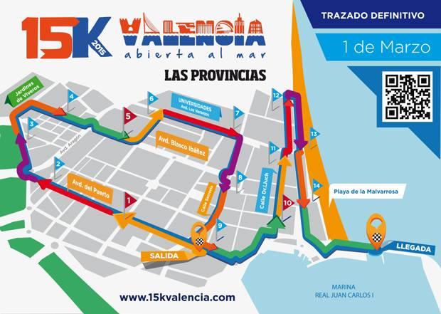 Carrera 15K. Valencia abierta l mar. Domingo a las 9 horas