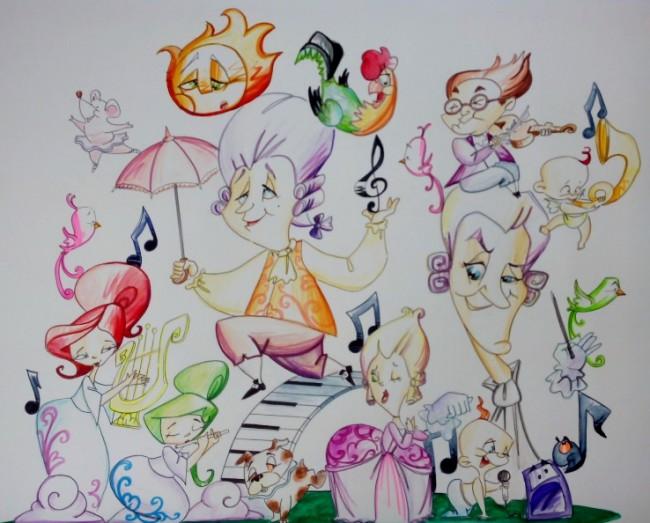BOCETO INFANTIL MUSICA EN BARROSO ARTISTA XIMO MARTI